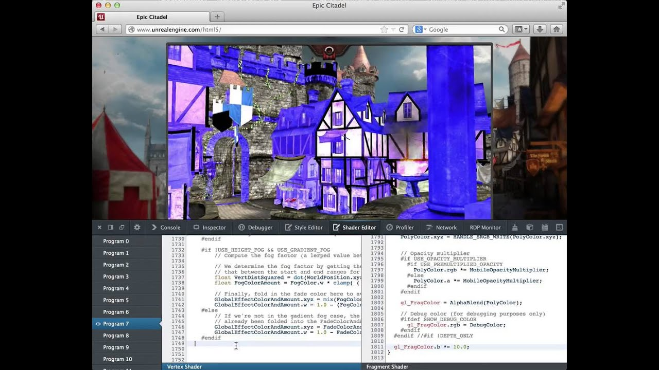 WebGL Shader Editor, Unreal Engine demo - Firefox Developer Tools