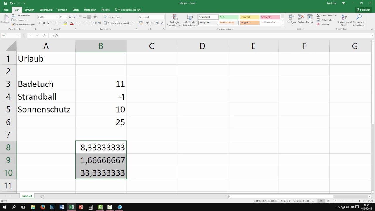 Excel Geteilt Rechnen
