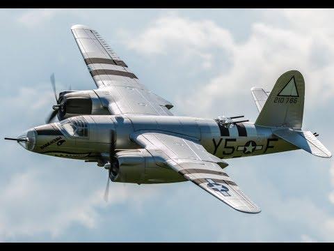 Dynam B-26 Martin Marauder Slow Flight, Landings and Dynam Gyro