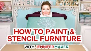 How to Paint Upholstered Furniture & Stencil it With Crisp Lines!