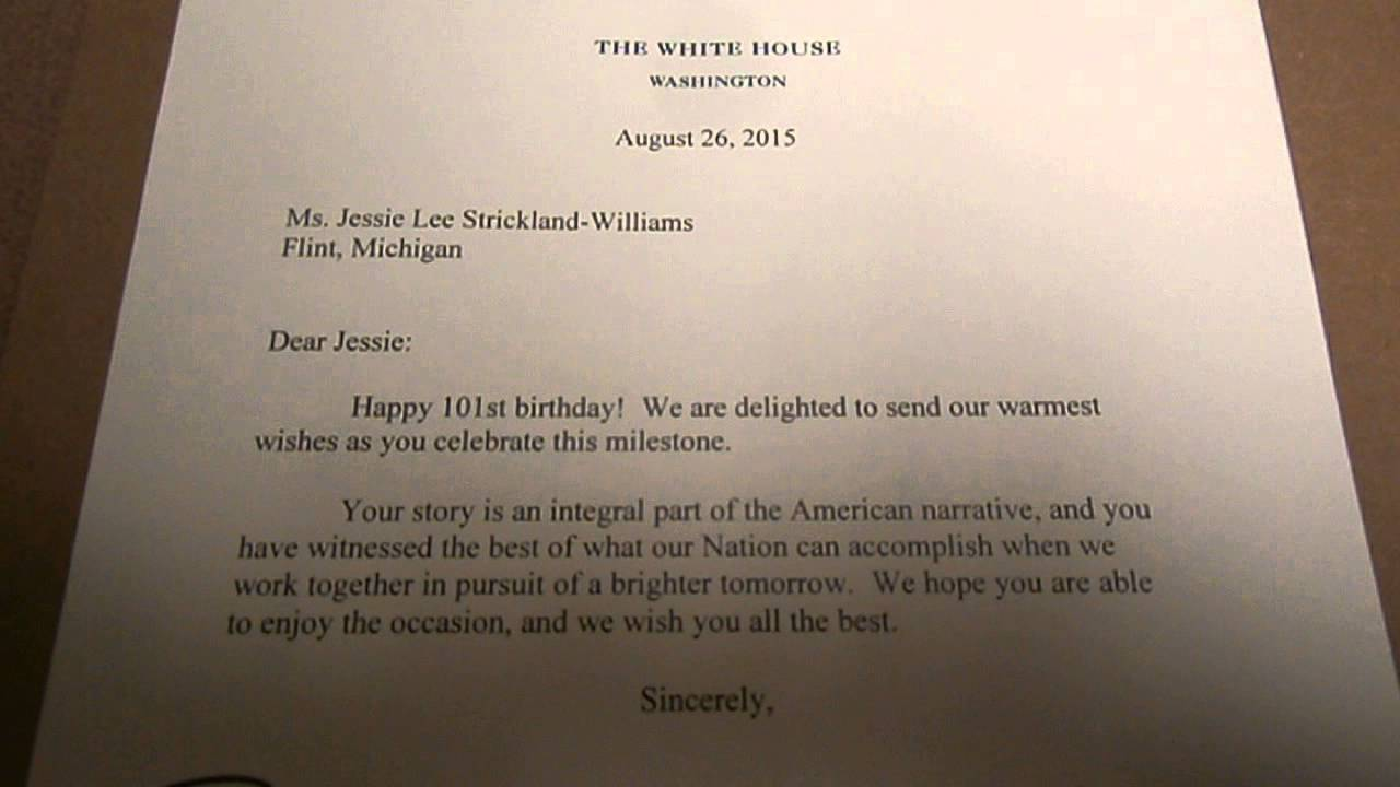 GRANDMA WILLIAMS 101st BIRTHDAY CARD FROM PRESIDENT OBAMA AND 1st – Birthday Card from White House