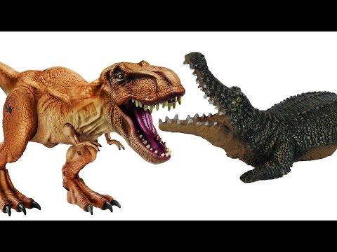 ДИНОЗАВРЫ. Битва Динозавров - Тиранозавров с Крокодилом и Змеёй. Мультик про Динозавров. Игрушки ТВ