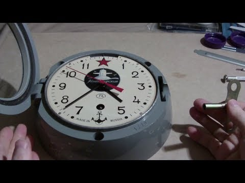 Russian submarine clock, how to take out movement and assemb