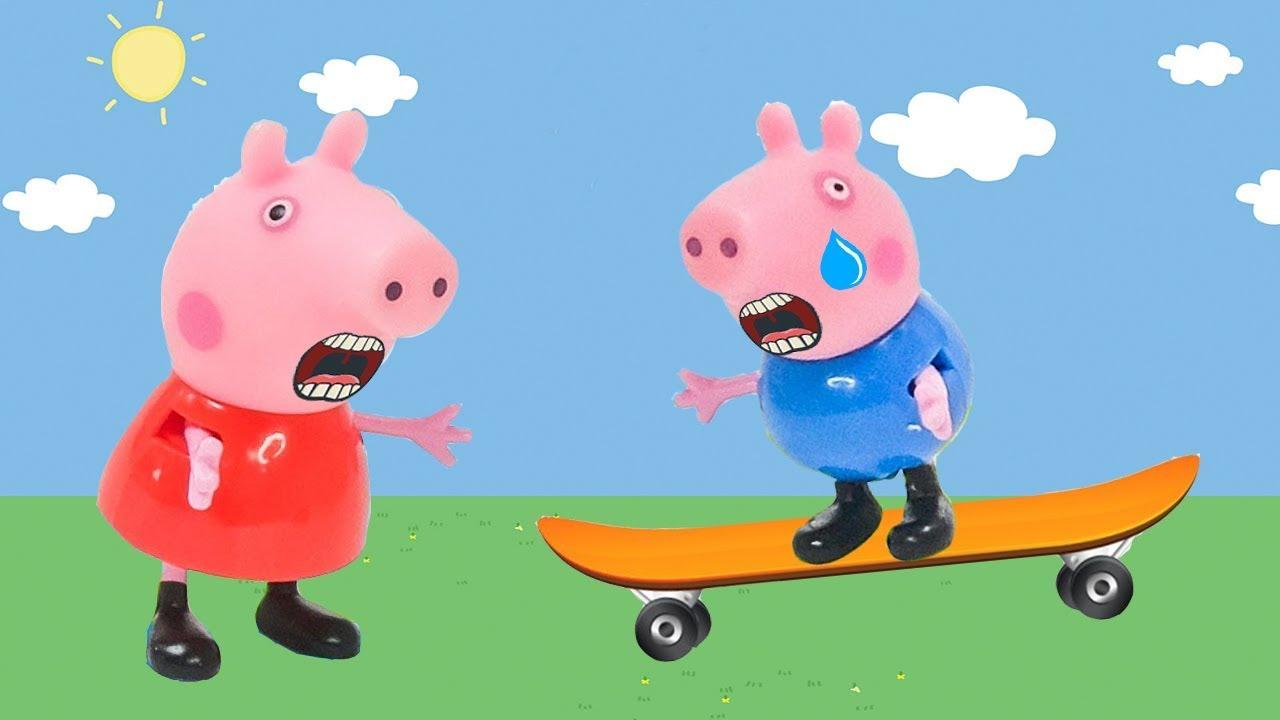 PIG GEORGE da família PEPPA PIG CAIU DO SKATE ! Familia Peppa Pig (novelinha)