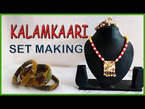Kalamkari Jewellery Making || How to Make Kalamkari Chain and Bangles  || kruthi DIY craft ideas