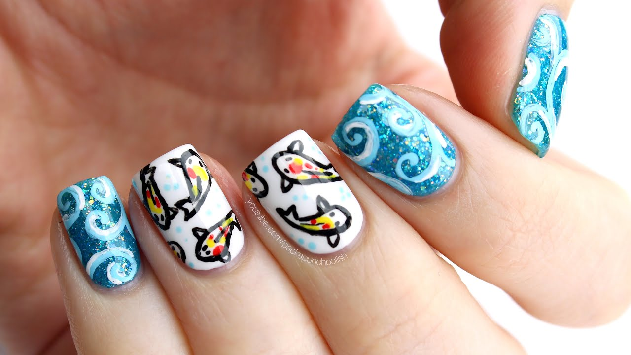 Koi Fish Nail Art Tutorial - YouTube