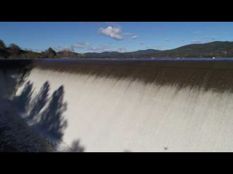 Aerial view of the spillway at Collins Lake in Yuba County