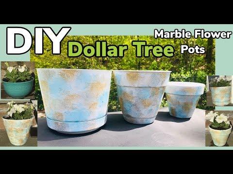Dollar Tree DIY Marble Flower Pots 2019