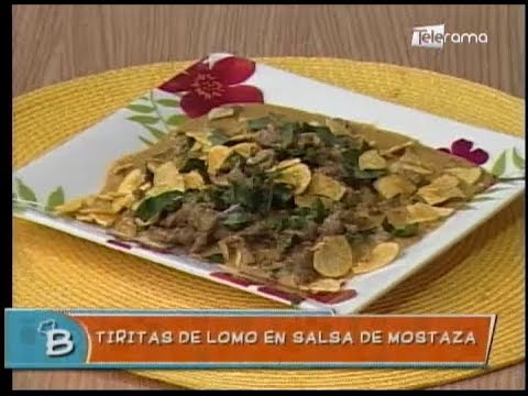 Tiritas de lomo en salsa de mostaza