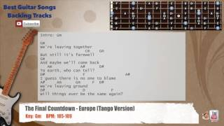 The Final Countdown - Europe  Tango Version  Guitar Backing Track With Scale, Ch