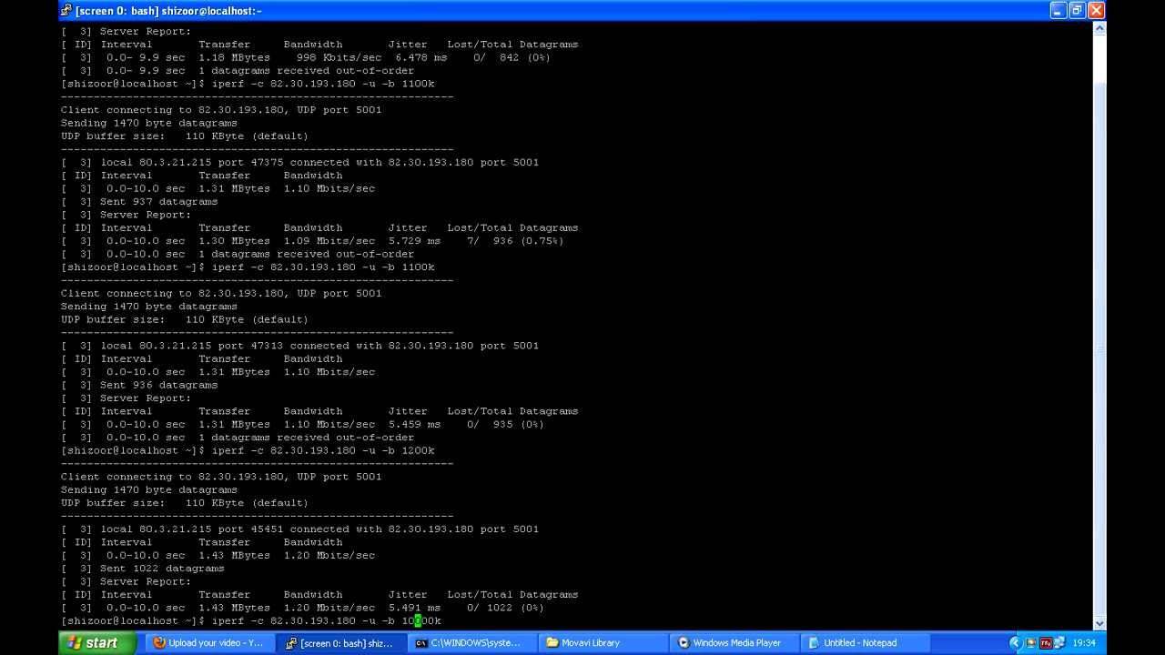 tweaking of iperf settings to fill bandwidth on the udp test