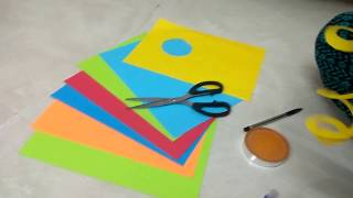 How to make rose flower with color diy paper Easy kids