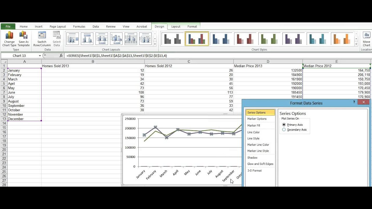 How to create combination charts and add secondary axis