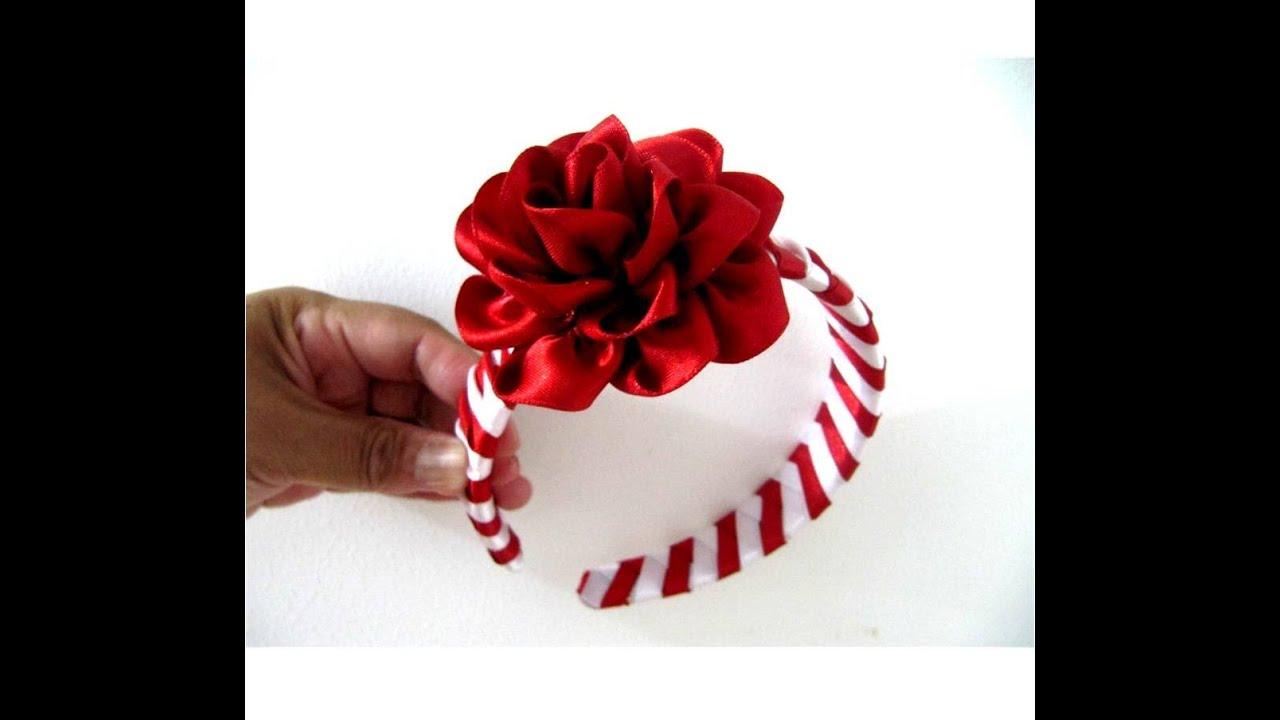 Rosas rojas diadema trenzada en cintas para el cabello for Diademas de tela para el cabello