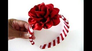 Repeat youtube video Rosas rojas diadema trenzada en cintas para el cabello