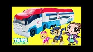 nick jr paw patroller big truck with chase ryder skye toy suprises kid patrol playset tuyc