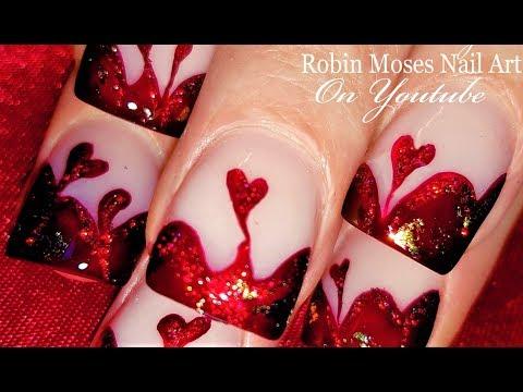 Blood Red Valentine's Day Nails   Dark Red Glitter Hearts Nail Art Design Tutorial
