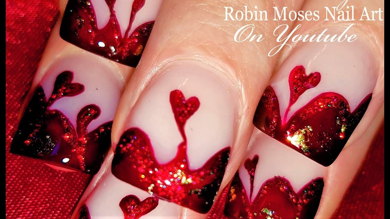Blood Red Valentine\'s Day Nails | Dark Red Glitter Hearts Nail Art ...