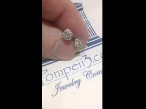 c1f295d5e 1/2 Carat Pave Halo Diamond Studs 14K White Gold by Pompeii3 - YouTube