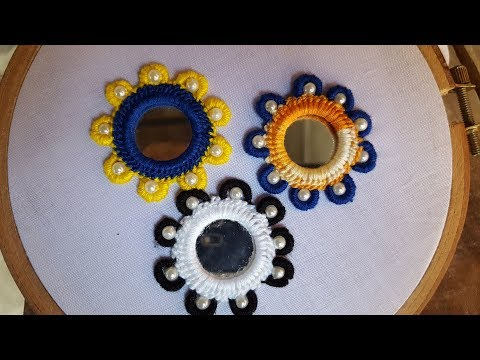 mirror work with bullion knot stitch hand embroidery