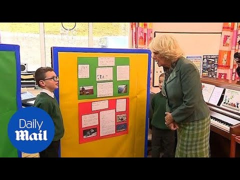 Camilla meets pupils of Crathie primary school in Balmoral