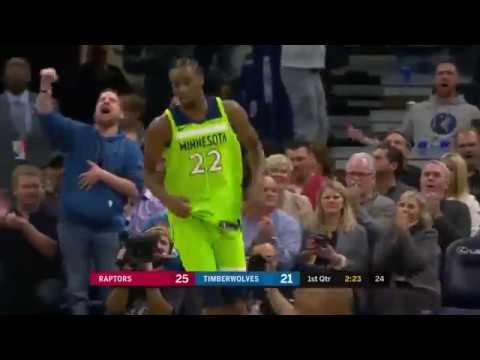 Timberwolves' Andrew Wiggins Posterizes Raptors' Jakob Poeltl Twice in First Half