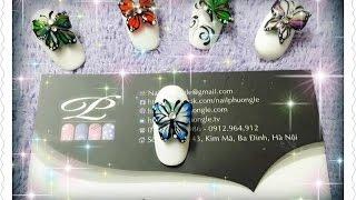 Làm bươm bướm nổi 3D kết hợp vẽ gel, vẽ gel pha và trang trí đính đá lên móng tay 3