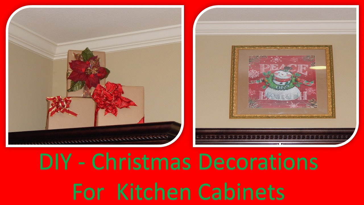 DIY   Decorate Kitchen Cabinet Ledges W/ Dollar Tree Gift Bags Framed Art