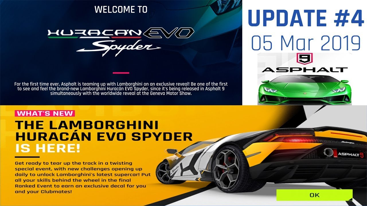 Asphalt 9 Motor Show Update Update 4 Huracan Evo Spyder