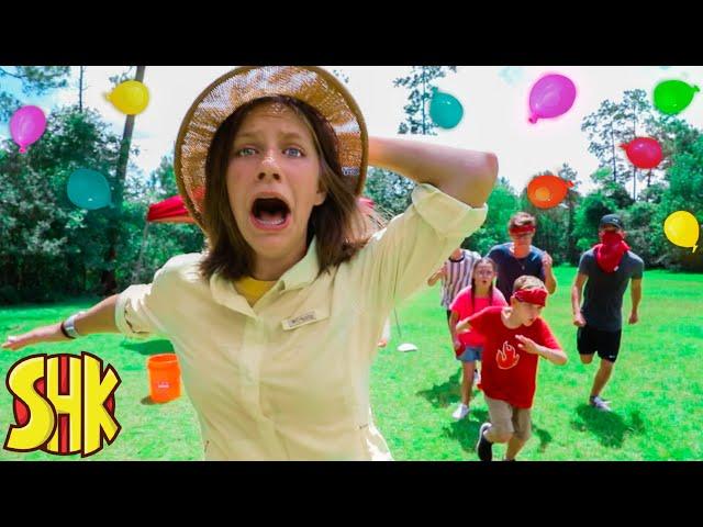 Superhero Summer School Water Balloon Challenge! Hope vs Noah's | SuperHeroKids