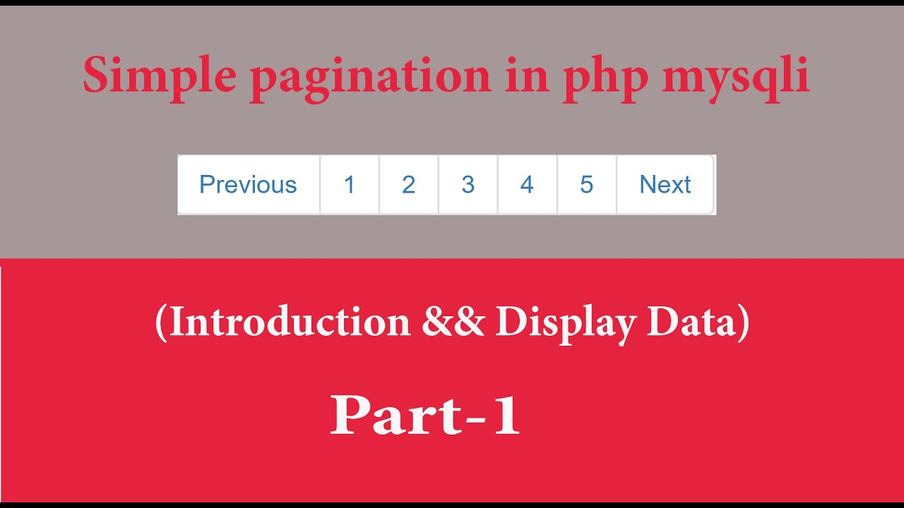 simple pagination in php mysqli part 1