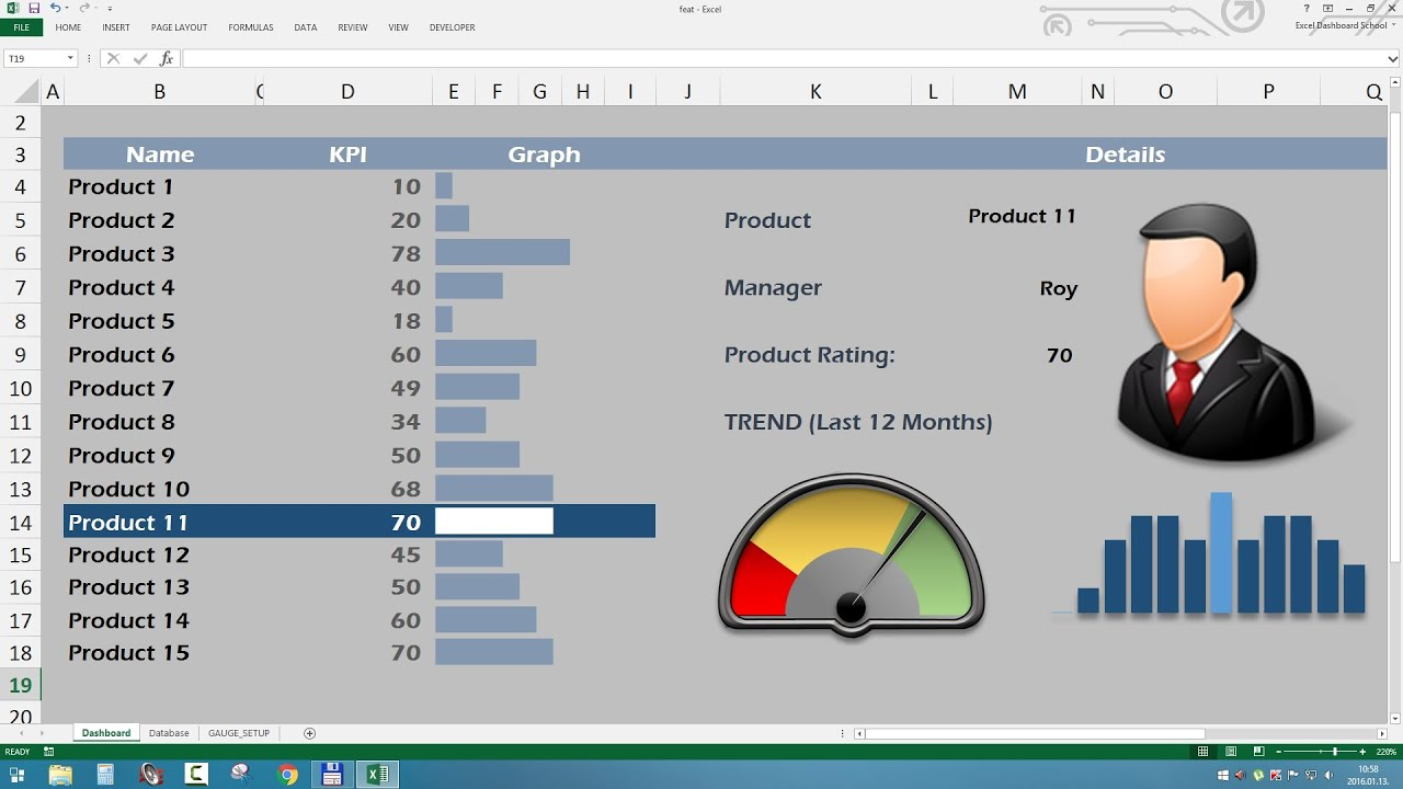 creating excel product metrics dashboard using speedometer