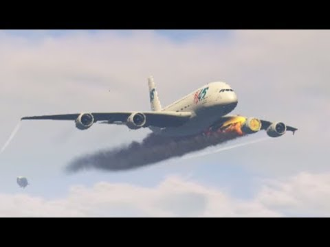 Airplane 'a380' 'Emergency Landing' at Mighty Flying Helicarrier (GTA 5 Funny Moments)