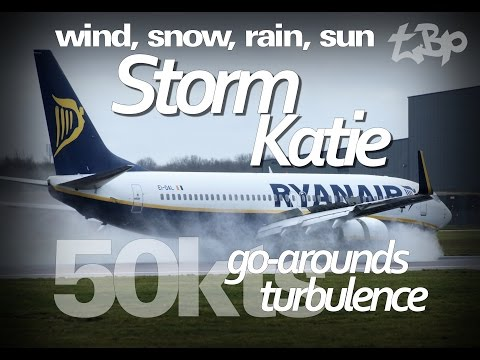 CROSSWIND LANDINGS - Storm Katie - Aircraft Go-Arounds Turbulence Emirates Ryanair Extreme Weather