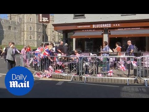 Royal family fans set up in Windsor for Harry and Meghan's w