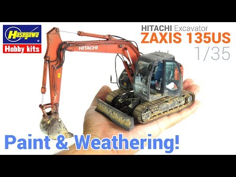 1/35 Hitachi Excavator ZAXIS 135US [Hasegawa] - [Painting and Weathering scale models - Tutorial]