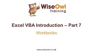 Excel VBA Introduction Part 7 - Workbooks