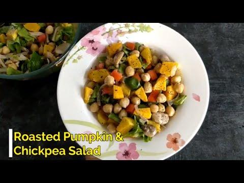 Roasted Pumpkin & Chickpea Salad, Healthy and yum vegan salad recipe