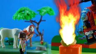 Playmobil Bombeiro apaga incêndio na Fazenda