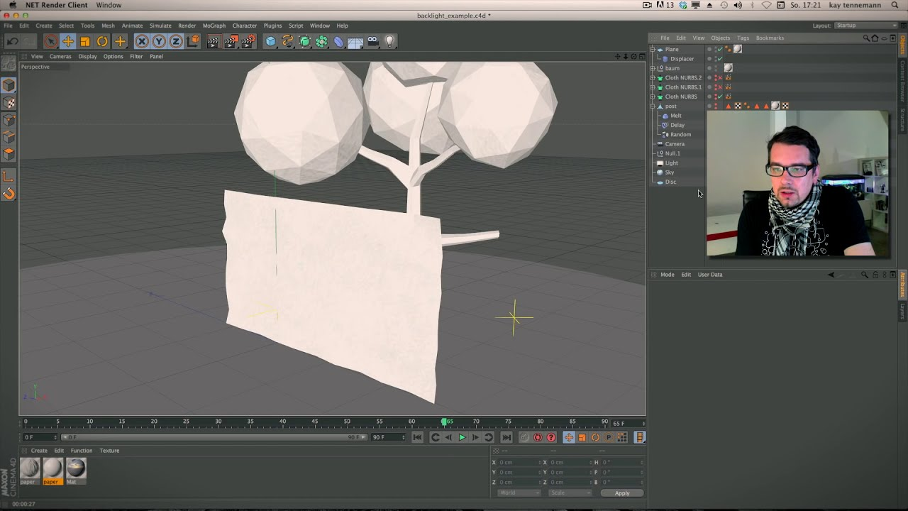 Cinema 4d Paper / Folding / Animation Tutorial  Kay Tennemann 52:16 HD