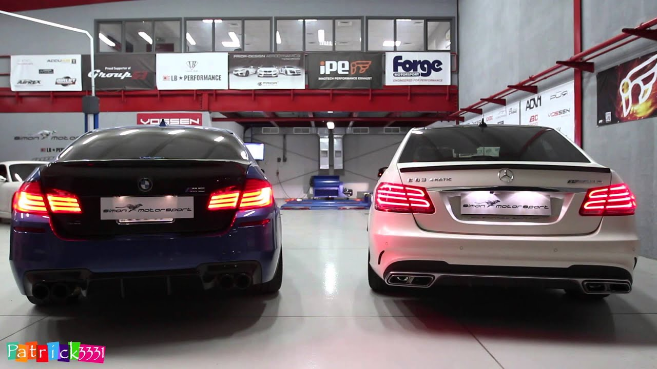 rev battle bmw m5 f10 vs. e63 amg with 725hp & 1050nm