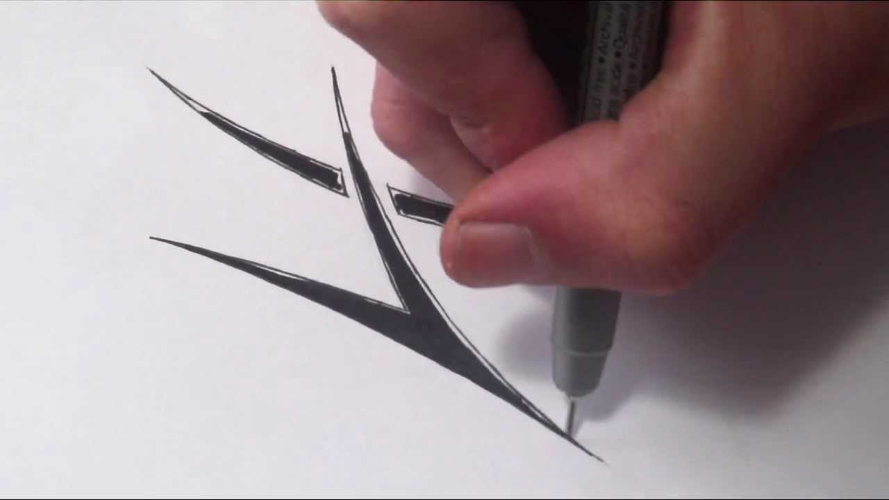 how to draw a simple tribal letter h youtube