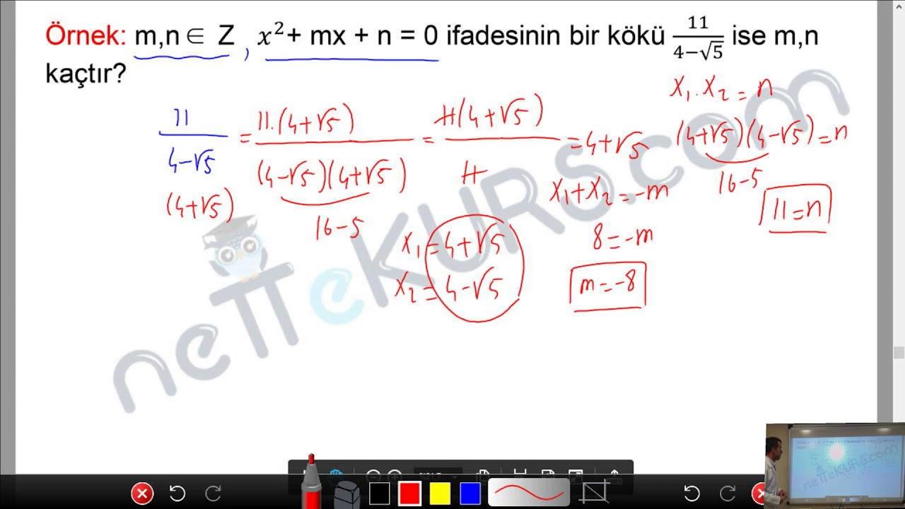 YKS - TYT - AYT Matematik - İkinci Dereceden Denklemler - 3 / nettekurs.com - Online YKS Kursu