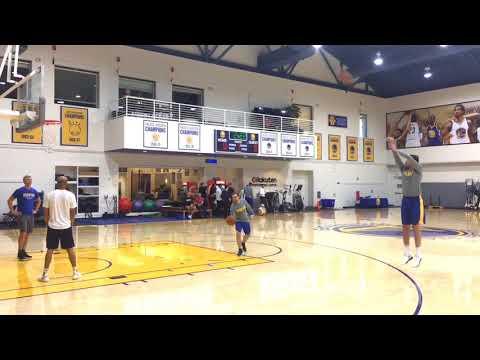 Steph Curry kickball shot plus Omri Casspi shooting routine at Warriors morning shootaround b4 CHI