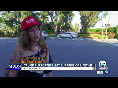 President Trump surprises supporters with Mar-a-Lago visit
