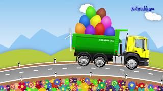 Мультики про машинки Учим овощи и фрукты Яйца с сюрпризом Trucks Развивающий мультик