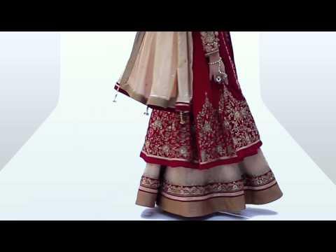 Velvet Suit (Product Code-7308) - Graceful Maroon and Cream Colour Velvet Lehenga Style Suit