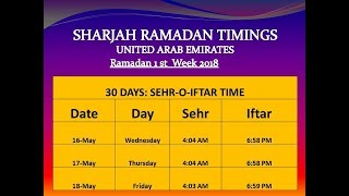 Ramadan Timing ! United Arab Emirates Ramadan time table   2018