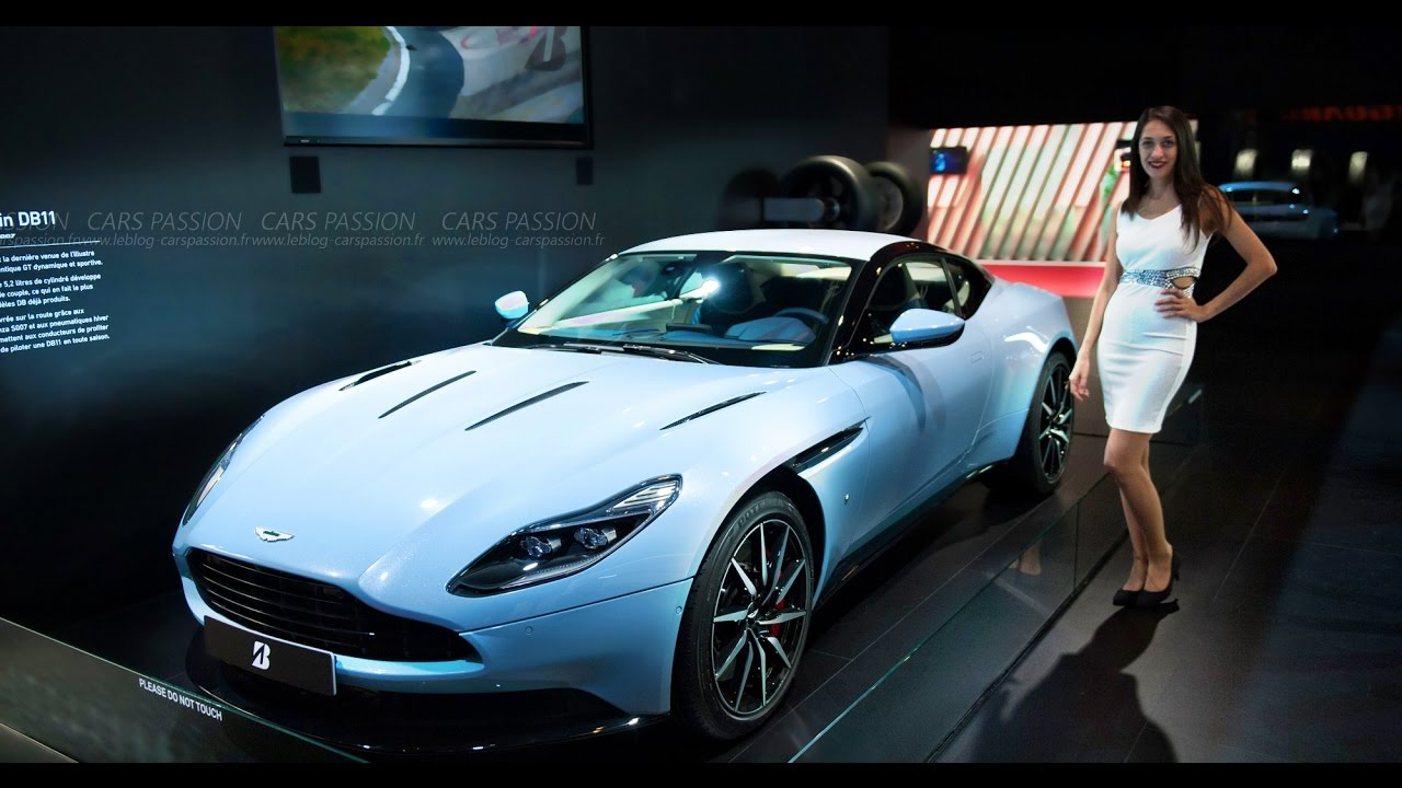 hostess aston martin db11 paris motor show youtube. Black Bedroom Furniture Sets. Home Design Ideas