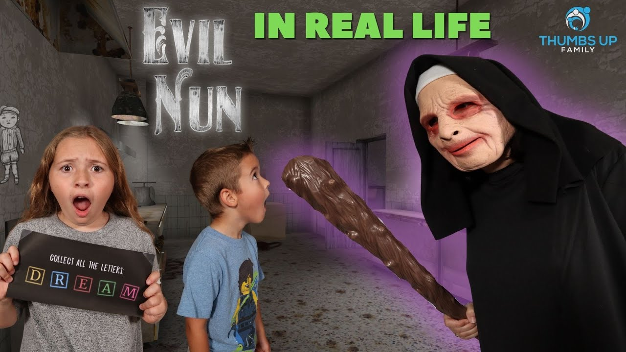 The EVIL NUN Horror Game House In Real Life (Thumbs Up Family)